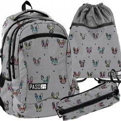 Plecak Młodzieżowy Pies Buldog Zestaw Szary [PPBB19-2808]