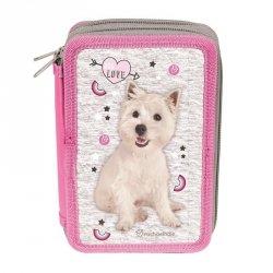 Piórnik 3-komorowy Szkolny Pies Biały Piesek dla dziewczyny do Szkoły