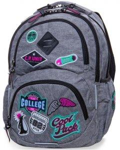 Plecak CP CoolPack Szary z Naszywkami dla Dziewczyny [B19058]