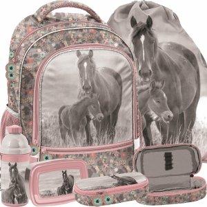 Modowy Plecak Dziewczęcy Szary Różowy w Konie z Końmi Paso [PP20KO-260]