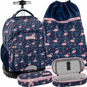 Modny Dziewczęcy Plecak na Kółkach Młodzieżowy Flamingi [PPNG20-1231]