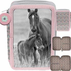 2-Komorowy Piórnik Konie Szkolny Dwukomorowy dla Dziewczyny [PP20KO-P022BW]