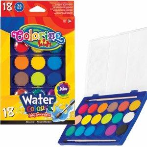 Farby Akwarelowe 18 Kolorów Wodne Colorino Pędzel Duże [54737PTR]