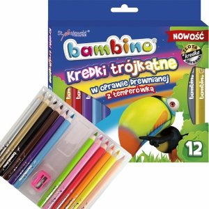 Kredki Bambino Grube 12 Kolorów Trójkątne +Temperówka [002892]