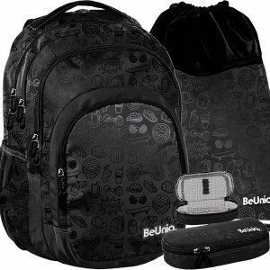 Plecak dla Młodzieży Szkolny dla Chłopaków BeUniq Czarny Zestaw [PPIC20-2706]