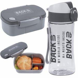 Zestaw Śniadaniowy Bidon Śniadaniówka Free BPA Szary [SB4B59]