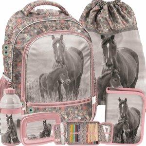 Nowy Plecak Szkolny Dziewczęcy z Końmi Konie Komplet [PP20KO-260]