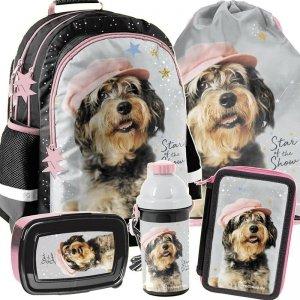 Szkolny Plecak Pies w Czapce dla Dziewczynki [RLF-116]