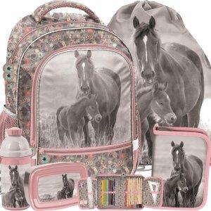 Modowy Plecak Szkolny Dziewczęcy z Końmi Konie Zestaw [PP20KO-260]