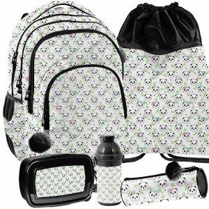 Paso Plecak dla Dziewczynek Misie Pandy Komplet 5w1 [PP21PN-2706]