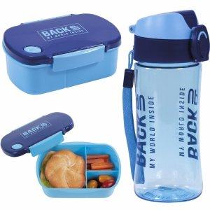 Zestaw Śniadaniowy Bidon Śniadaniówka Free BPA Niebieski [SB4B58]