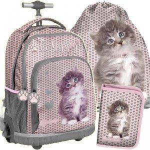 Szkolny Plecak na Kółkach z Kotkiem dla Dziewczyny [RLD-887]