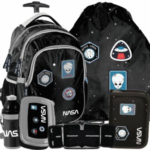 Plecak z Kółkami Szkolny Nasa Kosmiczny Duży Zestaw Czarny [PP20NS-997]