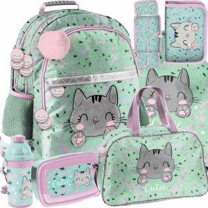 Szkolny Plecak dla Uczennic Kotek Kot Komplet 6w1 [PP21CA-116]