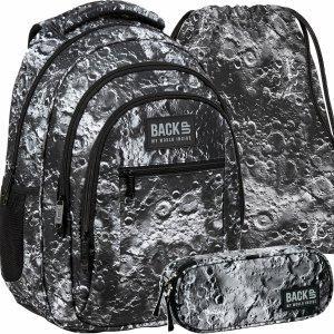 Plecak Młodzieżowy Szkolny Kratery Kosmiczny Szary [PLB3O49]