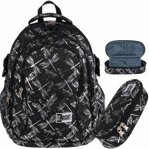 St.Right Młodzieżowy Plecak Ważki dla Dziewczyny Czarny  [BP1 DRAGONFLIES]