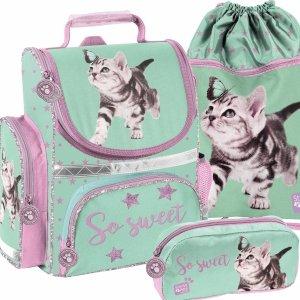 Tornister Kot do 1 Klasy z Motylkiem Szkolny Paso dla Dziewczyny [PTN-525]