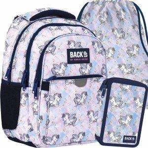 Szkolny Plecak Pegazy dla Dziewczynek Młodzieżowy Zestaw 3w1 [PLB4P25]