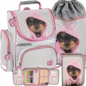 Nowy Tornister dla Dziewczynki Uczennicy Szkolny Pies York w Bluzie [PTJ-525]