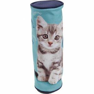 Piórnik z Kotkiem Kotem Dziewczęcy Niebieski [605569]