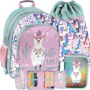 Nowoczesny Plecak Szkolny z Lamami dla Dziewczynki Paso [PP19LA-090]