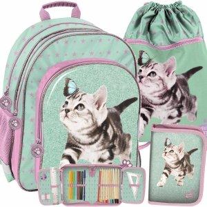 Plecak Szkolny z Kotkami dla Dziewczynki Miętowo-Fioletowy Paso [PTN-090]