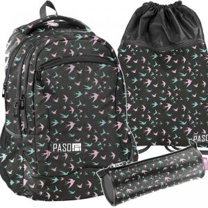 Plecak Młodzieżowy Dziewczęcy Kolorowe Jaskółki [PPJS19-2808]