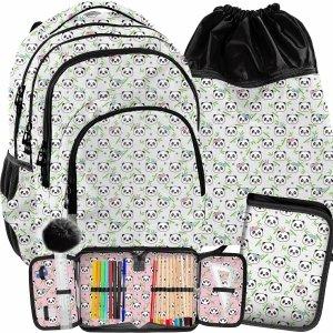 Szkolny Plecak Paso dla Dziewczyny Misie Panda Komplet 3w1 [PP21PN-2706]