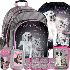 Pieski Plecak Szkolny Pies Kot dla Dziewczyny [RHG-090]