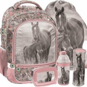 Plecaki Dziewczęce Koń Konie Komplet do Szkoły Podstawowej [PP20KO-260]