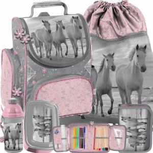 Horse Szkolny Tornister dla Dziewczyny Konie Zestaw 5w1 [PP21HO-525]