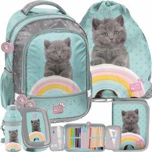 Plecak Kotek Szkolny dla Dziewczynki do 1 klasy Miętowy [PTL-260]