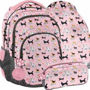 Szkolny Plecak Dziewczęcy z Pieskami dla Dziewczyny Modny [PP21DG-2706]