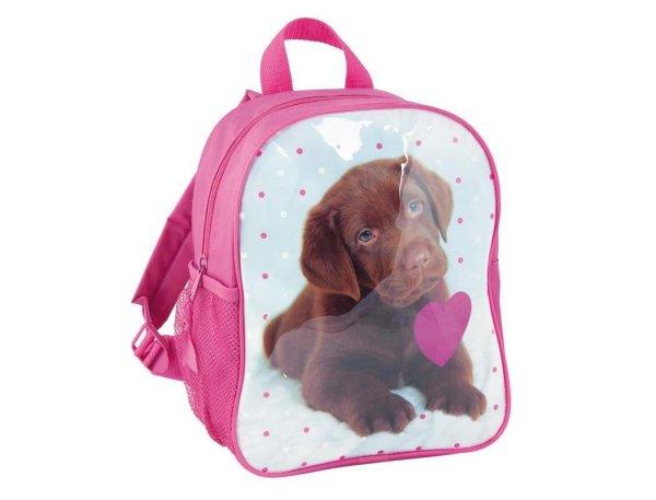 plecak przedszkolny z pieskiem pies pieski labrador różowy dla dziewczyny