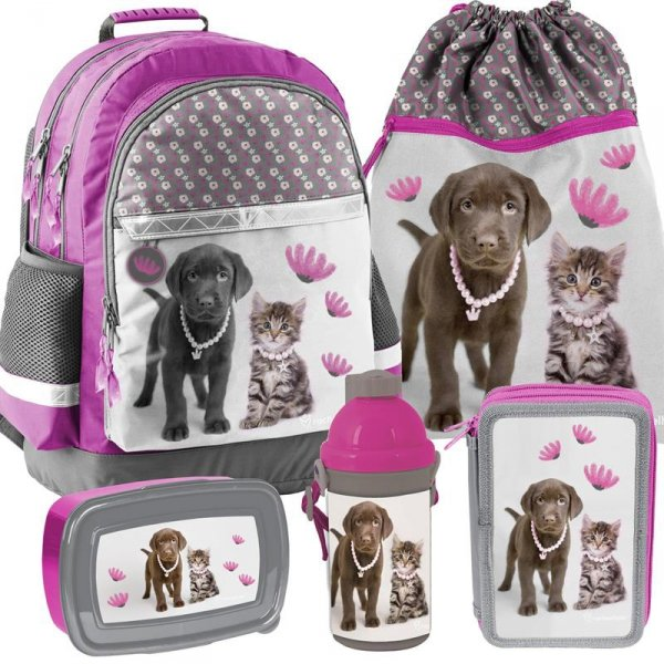 Plecak dla Dziewczynki z Kotem Pieskiem Szkolny Zestaw [RLA-116]