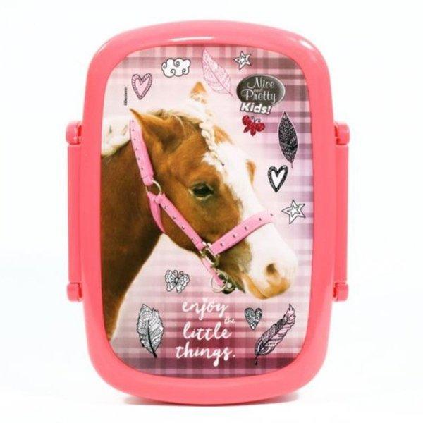 Śniadaniówka Bidon z Koniem Końmi dla Dziewczyny Zestaw 2w1