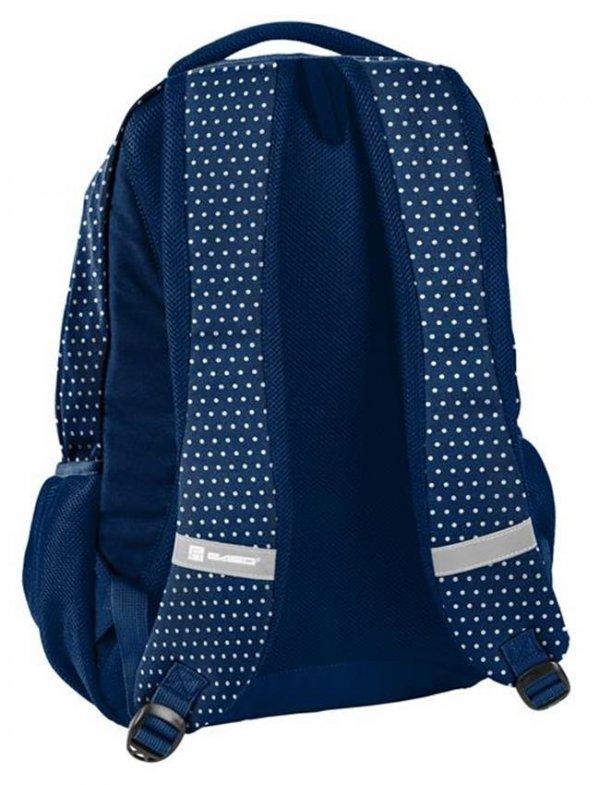 Plecak Młodzieżowy Szkolny Niebieski w Paski Kropki [18-2708DO]