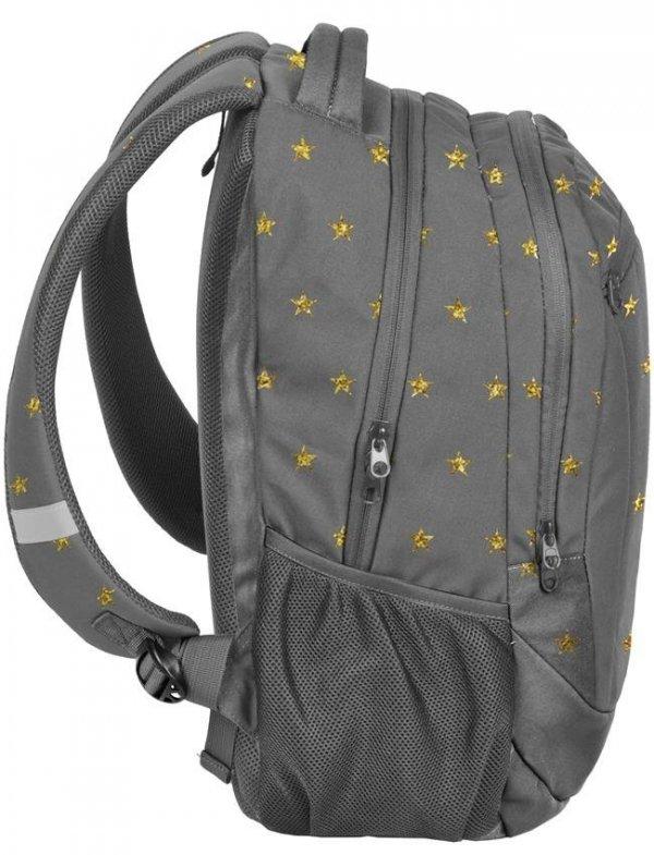 Plecak Młodzieżowy Szkolny Szary w Złote Gwiazdki [18-2808ZL]