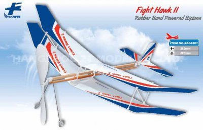 Samolot Fight Hawk II 500mm dwupłatowy na gumkę