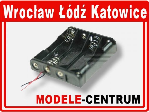 Koszyk na baterie R3x4 BC44+ kabel 15cm AAA 07285