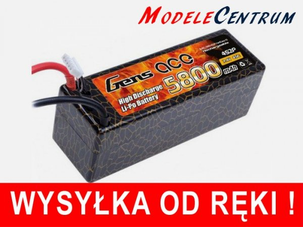 Gens Ace 5800mAh 14.8V 45C 4S2P Hard Ca Akumulator