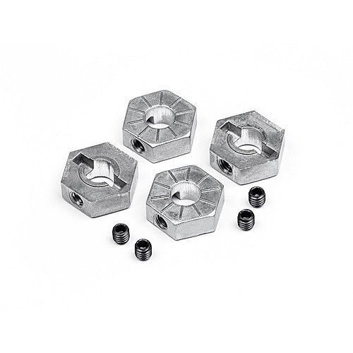 12MM HEX WHEEL ADAPTOR W/ SET SCREWS 4PCS