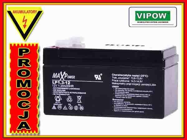 BAT0404 Akumulator żelowy 12V 1,3Ah MaxPower