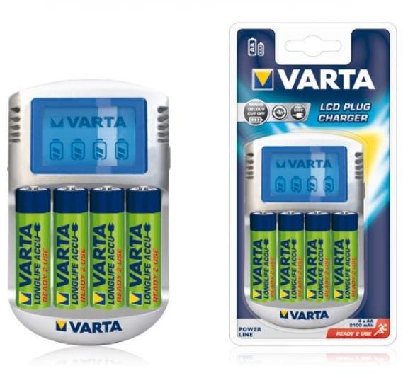 BAT0260 Ładowarka VARTA Plug LCD + 4xAA 2100mAh