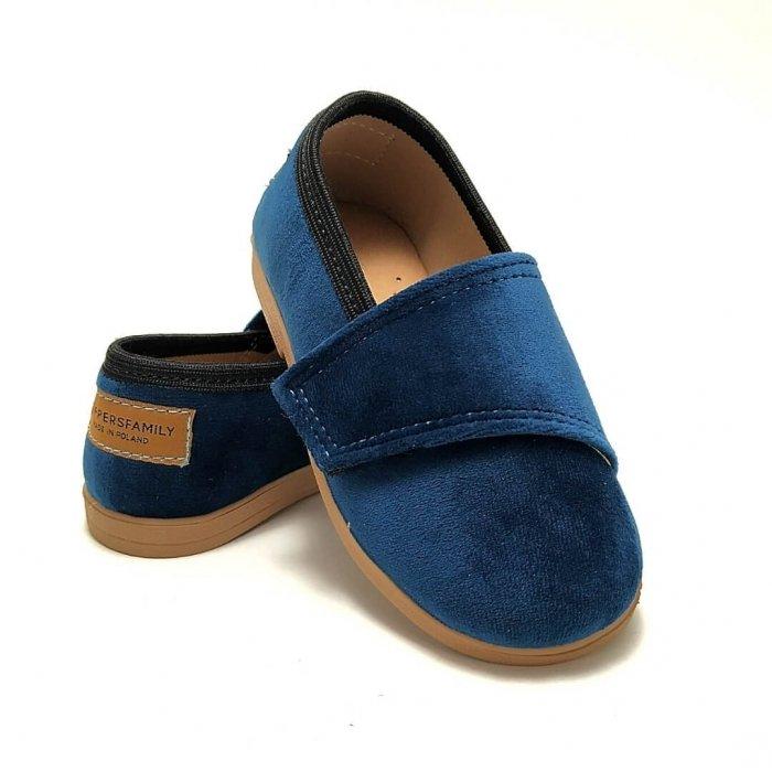 Buty dla dzieci wizytowe Slippers Family Aksamit Szafir