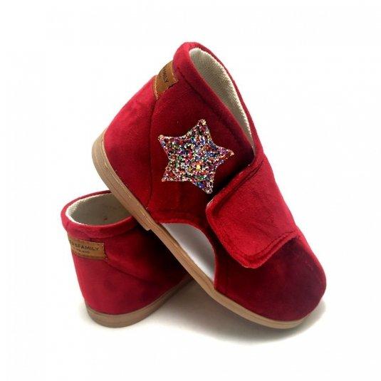 czerwone Kapcie dla dzieci na rzep REDDY