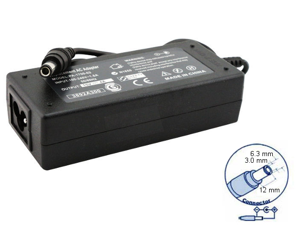 zasilacz do notebooków Toshiba 15V 4A (60W) - wtyk 6.3 x 3.0 x 12 mm