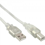 Kable InLine USB A-B 1m z wzmocnieniem ferrytowym - przeźroczysty