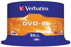 1x50 Verbatim DVD-R 4,7GB 16x Speed, matowy srebrny