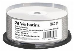 1x25 Verbatim BD-R Blu-Ray 25GB 6x Speed, thermal printable